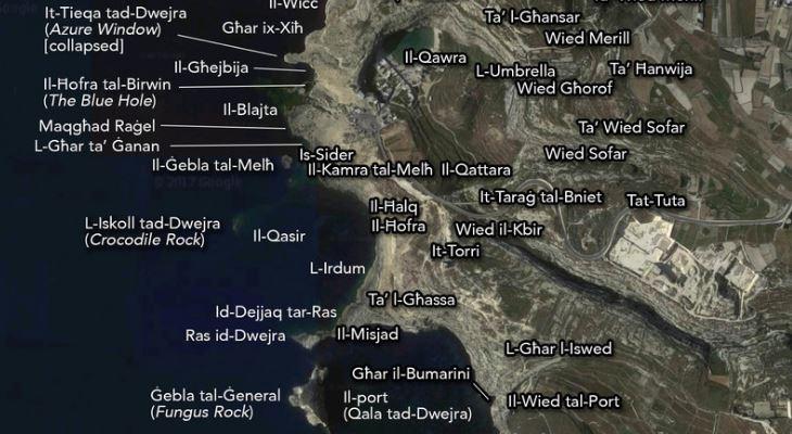 Dwejra map Joseph Caruana Dwejra.weebly.com copyright